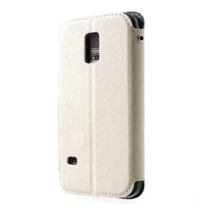 Pěněženkové pouzdro s okýnkem pro Samsung Galaxy S5 mini - bílé - 2