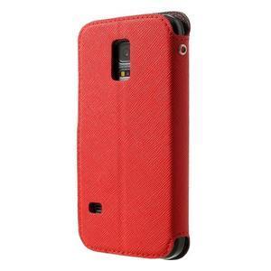 Pěněženkové pouzdro s okýnkem pro Samsung Galaxy S5 mini - červené - 2