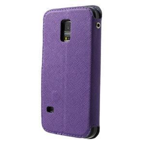 Pěněženkové pouzdro s okýnkem pro Samsung Galaxy S5 mini -  fialové - 2
