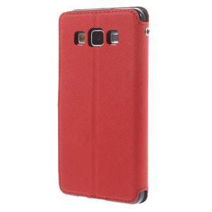 Stylové pouzdro s okýnkem na Samsung Galaxy A5 - červené - 2