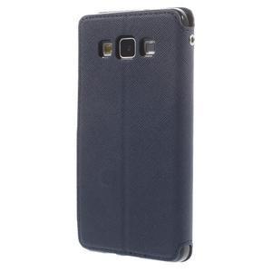 Stylové pouzdro s okýnkem na Samsung Galaxy A5 - tmavěmodré - 2