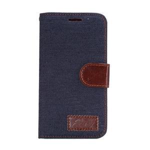 Jeans peněženkové pouzdro na Samsung Galaxy note 3 - černomodré - 2
