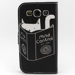 Peněženkové pouzdro na mobil Samsung Galaxy S3 - kočička s knihou - 2