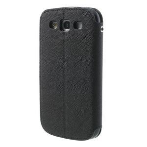 Peněženkové pouzdro s okýnkem pro Samsung Galaxy S3 / S III - černé - 2