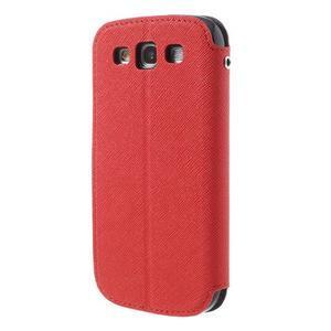 Peněženkové pouzdro s okýnkem pro Samsung Galaxy S3 / S III - červené - 2