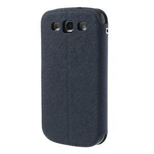 Peněženkové pouzdro s okýnkem pro Samsung Galaxy S3 / S III - tmavěmodré - 2