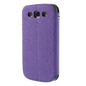 Peněženkové pouzdro s okýnkem pro Samsung Galaxy S3 / S III - fialové - 2