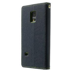 Diary PU kožené pouzdro na Samsung Galaxy S5 mini - tmavěmodré - 2
