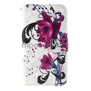 Koženkové pouzdro na mobil Sony Xperia E4 - květy - 2