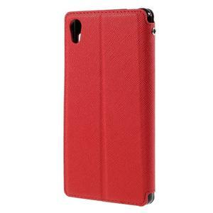 Peněženkové pouzdro s okýnkem pro Sony Xperia M4 Aqua - červené - 2