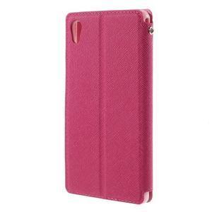 Peněženkové pouzdro s okýnkem pro Sony Xperia M4 Aqua - růžové - 2