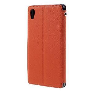 Peněženkové pouzdro s okýnkem pro Sony Xperia M4 Aqua - oranžové - 2