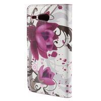 Nice koženkové pouzdro na mobil Acer Liquid Z520 - fialové květy - 2/7
