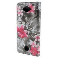 Valet peněženkové pouzdro na Acer Liquid Z530 - červené květy - 2/7