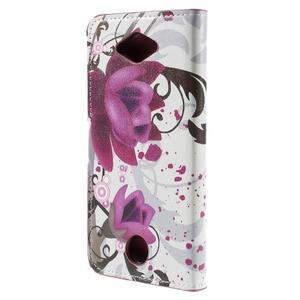 Valet peněženkové pouzdro na Acer Liquid Z530 - fialové květy - 2