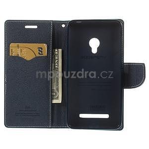 Azurové/tmavě modré peněženkové pouzdro na Asus Zenfone 5 - 2