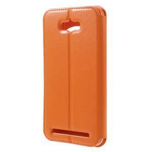 Luxusní pouzdro s okýnkem na mobil Asus Zenfone Max - oranžové - 2