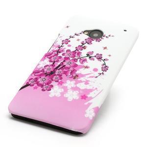 Plastový kryt na HTC One M7 - kvetoucí větvička - 2