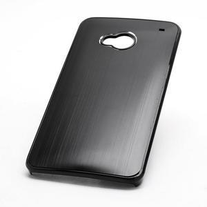 Broušený hliníkový plastový kryt na HTC One M7 - černý - 2