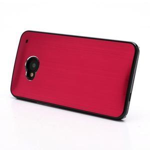 Broušený hliníkový plastový kryt na HTC One M7 - červený - 2