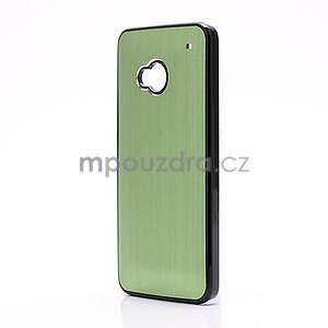 Broušený hliníkový plastový kryt na HTC One M7 - zelený - 2