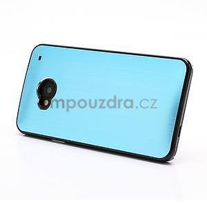 Broušený hliníkový plastový kryt na HTC One M7 - světle modrý - 2
