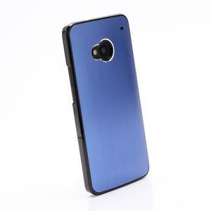 Broušený hliníkový plastový kryt na HTC One M7 - modrý - 2