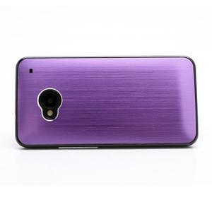 Broušený hliníkový plastový kryt na HTC One M7 - fialový - 2