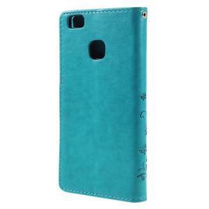 Butterfly PU kožené pouzdro na Huawei P9 Lite - modré - 2