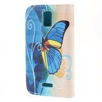 Peněženkové pouzdro na mobil Huawei Y3 a Y360 - modrý motýl - 2/7