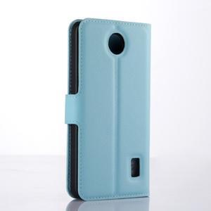 Modré zapínací PU kožené pouzdro na Huawei Y635 - 2