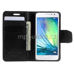 Černé PU kožené peněženkové pouzdro na Samsung Galaxy A3 - 2