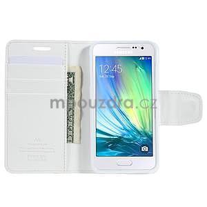 Bílé PU kožené peněženkové pouzdro na Samsung Galaxy A3 - 2