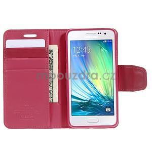 Rose PU kožené peněženkové pouzdro na Samsung Galaxy A3 - 2