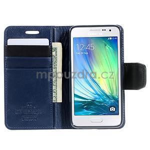Tmavě modré PU kožené peněženkové pouzdro na Samsung Galaxy A3 - 2