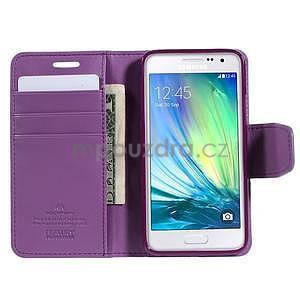 Fialové PU kožené peněženkové pouzdro na Samsung Galaxy A3 - 2
