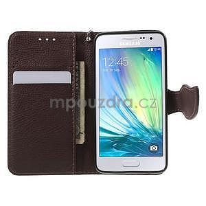 Rose/hnědé PU kožené pouzdro na Samsung Galaxy A3 - 2