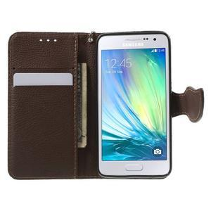 Zelené/hnědé PU kožené pouzdro na Samsung Galaxy A3 - 2