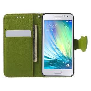 Hnědé/zelené PU kožené pouzdro na Samsung Galaxy A3 - 2