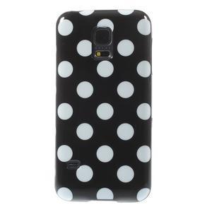 Černý puntíkatý gelový obal na Samsung Galaxy S5 mini - 2