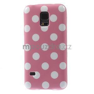 Růžový puntíkatý gelový obal na Samsung Galaxy S5 mini - 2