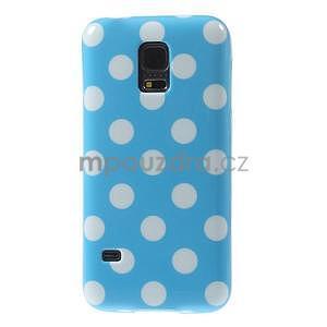 Světle modrý puntíkatý gelový obal na Samsung Galaxy S5 mini - 2