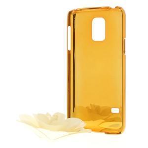 Stříbrné elegantní plastové pouzdro se zlatým lemem na Samsung Galaxy S5 mini - 2