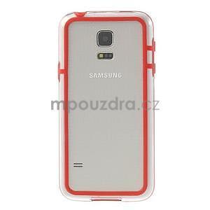 Červený gelový kryt s plastovými lemy na Samsung Galaxy S5 mini - 2