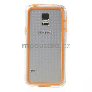 Oranžový gelový kryt s plastovými lemy na Samsung Galaxy S5 mini - 2