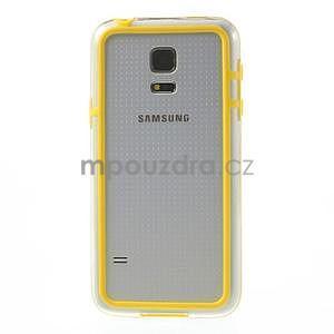 Žlutý gelový kryt s plastovými lemy na Samsung Galaxy S5 mini - 2