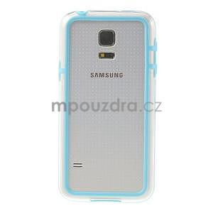 Světle modrý gelový kryt s plastovými lemy na Samsung Galaxy S5 mini - 2