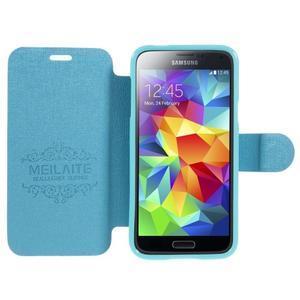 Světle modré  zapínací pouzdro na Samsung Galaxy S5 mini - 2