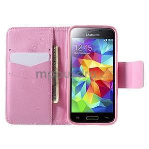 Zapínací peněženkové pouzdro na Samsung Galaxy S5 mini - květinová sova - 2