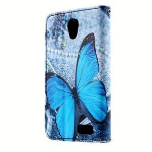 Peněženkové pouzdro na mobil Lenovo A319 - modrý motýl - 2